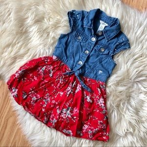 GUESS girls floral jean dress button up